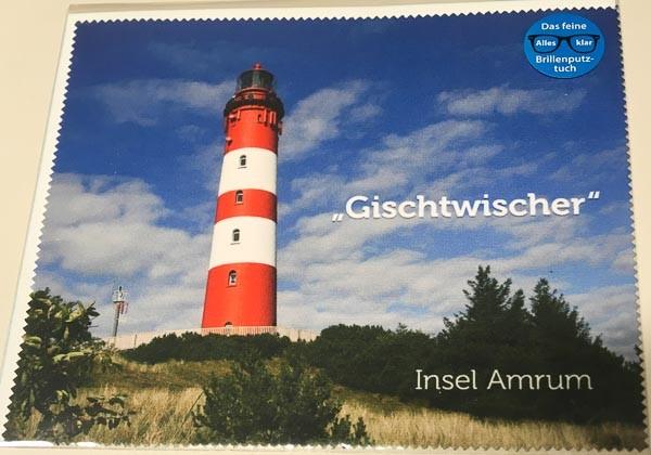 """Brillenputztuch """"Gischtwischer"""" mit Amrumer Leuchtturm"""