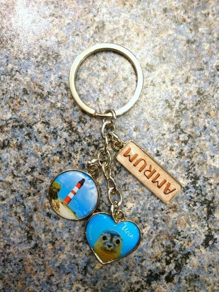 Schlüsselanhänger Amrum, Leuchtturm, Seehund