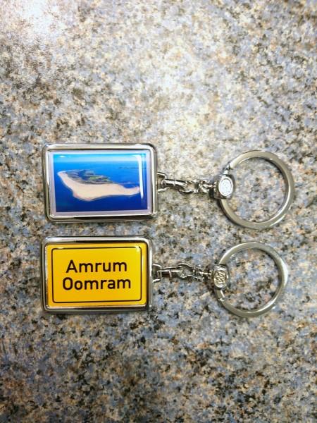 Schlüsselanhänger eckig Amrum, Luftbild & Ortsschild